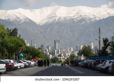 Tehran, Iran, april 2018: Tehran skyline view with Alborz Mountains on background