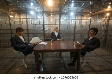 TEHRAN, IRAN - April 25, 2018. Interior of the Den of Espionage housed in the former US Embassy in Tehran
