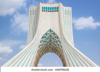 TEHRAN, IRAN - APRIL 28, 2017. Azadi Tower in Tehran, Iran, aslo known as Freedom Tower. Symbol of Tehran, entrance to the city. Memorial for 2500 years of the Persian Empire.