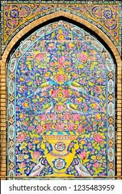 Tehran, Iran, August 24 2015: Ceramic tile artwork in Golestan Palace, Qajar period