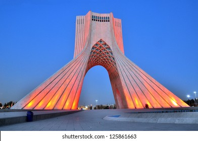 TEHRAN, IRAN - CIRCA AUGUST 2012: Night shot of Azadi Square to Azadi Tower in Tehran circa August 2012. Azadi Tower and Azadi Squere are some of the most famous places in Tehran visited by tourists.