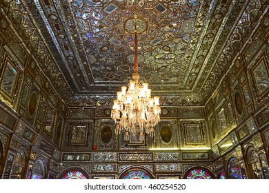 TEHRAN, IRAN - DECEMBER 7, 2012:  Wind catcher historic building in Golestan palace. The Golestan Palace is the former royal Qajar complex, that has been inscribed on the UNESCO World Heritage List.