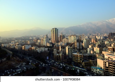 TEHRAN, IRAN - JANUARY 06: Winter Tehran view with a snow covered Alborz Mountains on background on January 05, 2018 in Tehran, Iran.