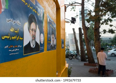 Tehran, Iran - June 17, 2021: Ebrahim Raisi Poster on a wall on a street in Tehran. He is one of the presidential candidates of the current election in Iran.