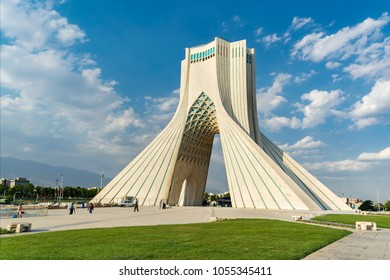 TEHRAN, IRAN – JUNE 5, 2017: Azadi Tower (Freedom Tower) formerly known as Shahyad Tower (King's Memorial Tower) in Azadi Square, commissioned by Mohammad Reza Pahlavi, the last Shah of Iran.