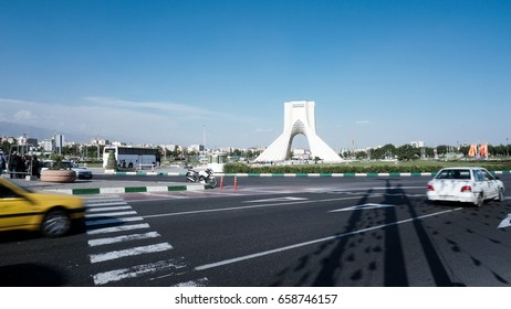Tehran, Iran - May 18, 2017: Azadi Tower, one of the landmarks of Tehran, and is part of the Azadi Cultural Complex, which also includes a museum underground, Tehran, Iran.