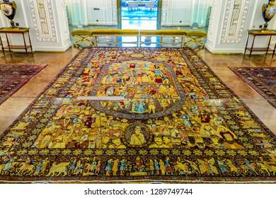 TEHRAN, IRAN - MAY 2017: Niavaran Mansion Palace Complex Interior Main Hall Qajar Dynasty Carpet