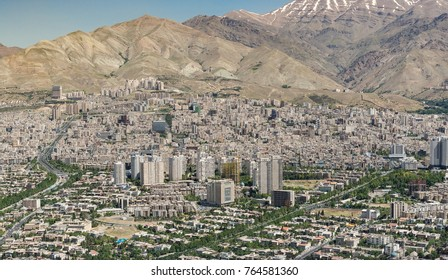TEHRAN, IRAN - MAY 2017: View from Milad Tower over apartment blocks in Northern Tehran, Iran.