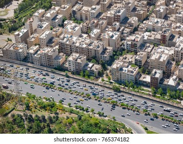 TEHRAN, IRAN - MAY 2017: View from Milad Tower over a major highway in Northern Tehran, Iran.