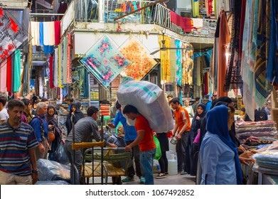 TEHRAN, IRAN - MAY 22, 2017: People at Tehran Grand Bazaar in Tehran, Iran. Grand Bazaar is the main market of Tehran