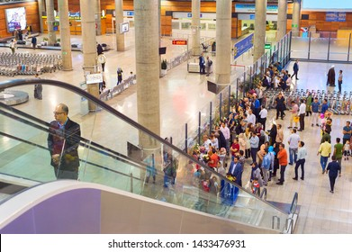 TEHRAN, IRAN - MAY 22, 2017: People waiting for arriving passengers at Tehran Imam Khomeini International Airport