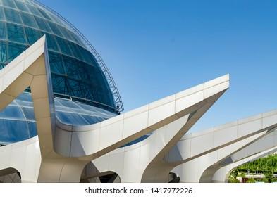 Tehran, Iran – May 27, 2014: Gonbad-e-Mina planetarium building in Nowrooz park.