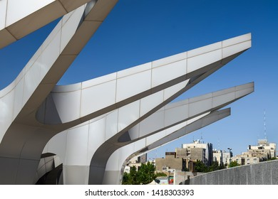 Tehran, Iran – May 27, 2014: Abstract view of the architectural details of Gonbad-e-Mina planetarium building in Nowrooz park.