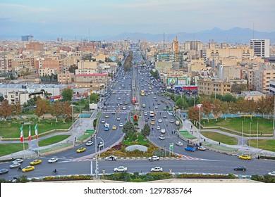TEHRAN, IRAN - NOVEMBER 11, 2018 - Tehran traffic on Azadi street towards centre, seen from Azadi Tower