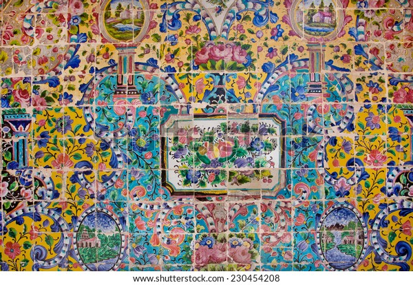 TEHRAN, IRAN - OCT 6: Floral pattern on a crumbling tile of beautiful persian Golestan Palace on October 6, 2014. UNESCO World Heritage Site, Golestan Palace was built in 16 century.