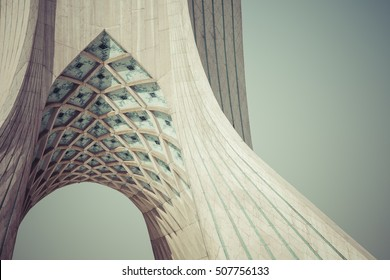 TEHRAN, IRAN - OCTOBER 04, 2016: View of the Azadi Tower in Tehran on October 4, 2016. The tower is one of the symbols of the city