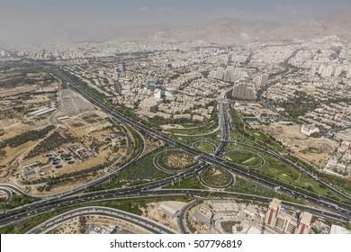 TEHRAN, IRAN - OCTOBER 05, 2016: View of Tehran from the Azadi Tower - Iran