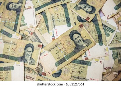 Tehran, Iran - October 15, 2016: A lot of Iranian rial banknotes