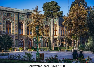 Tehran, Iran - October 15, 2016: View on the Salam Hall, one of the buildings of famous Golestan Palace royal complex in Tehran