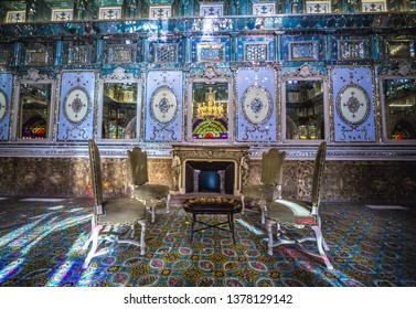 Tehran, Iran - October 15, 2016: Hall of Edifice of the Sun, one of the buildings of famous Golestan Palace in Tehran