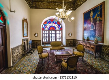 Tehran, Iran - October 15, 2016: Interior of Edifice of the Sun, one of the buildings of famous Golestan Palace in Tehran