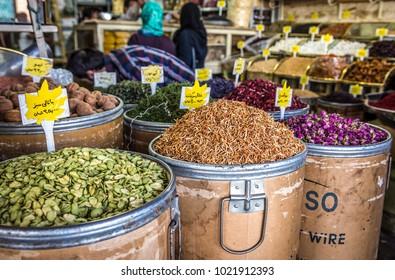 Tehran, Iran - October 16, 2016: Peels and petals on the stand in Grand Bazaar of Tehran