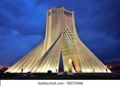 Tehran, Iran: October 4, 2017. Azadi tower the landmark of new era of persian empire in Tehran