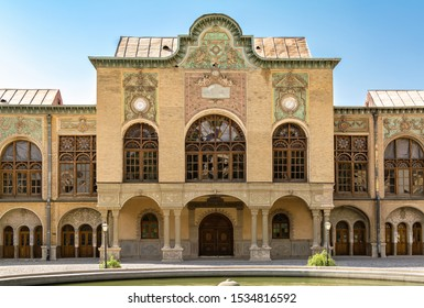 Tehran, Iran – October 7, 2019: Masoudieh historic mansion from Qajar dynasty, built in 1879. (Persian text translation: knowledge is power, Knowledge makes the old heart young.)