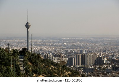 TEHRAN, IRAN- SEPTEMBER 17, 2018: Milad Tower with panoramic view of the city Tehran,Iran