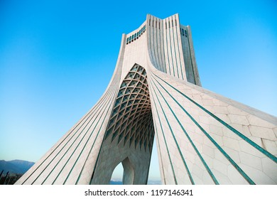 TEHRAN, IRAN – September 28, 2017: A landscape view of the Azadi tower, located at Azadi Square.