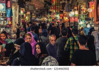 Tehran, Iran - September 30, 2015: People in central bazaar. Grand Bazaar in Tehran is the bigest bazaar in Iran.