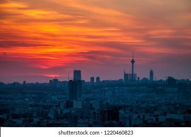 Tehran Iran skyline at the sunset, beautiful and colorful sunset of capital of Iran with Milad tower in frame.