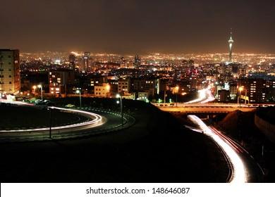 Tehran skyline at night, Tehran, Iran