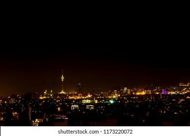 Tehran skyline night with Milad tower.