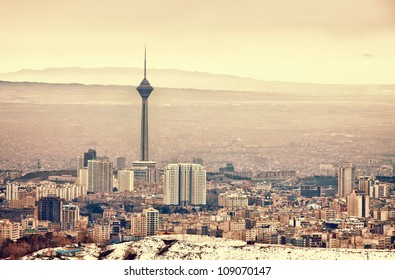 Tehran skyline with panoramic view of the city.
