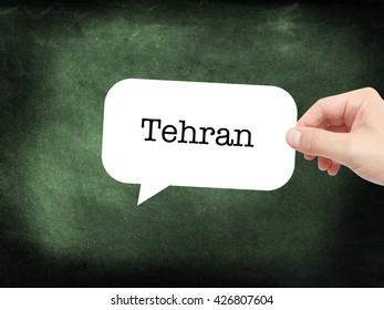 Tehran written on a speechbubble