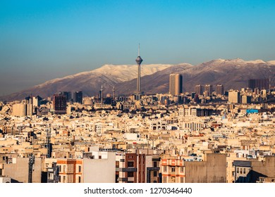 Tehran_Iran skyline with Milad tower in frame, clear Tehran cityscape.