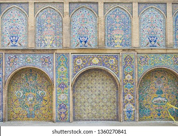 Tehran,Iran, Feb 15,2019:The arched panels of Golestan Palace with floral traceries on porcelain tiles,Golestan Palace is architectural example of the Qajar era and is one of the oldest in Tehran
