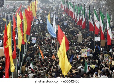 Tehran,Iran - February 11,2008 : Celebration of the Iranian Islamic Revolution, made by Ayatollah Khomeini in 1979, held every year in February.