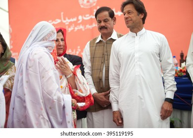 Tehreek-e-Insaf Chairman Imarn Khan arrives at CM House Peshawar. He will attend weddings 50 couples getting married in CM House today,distribute PKR 200,000 to each couple. Peshawar 22 March 2016