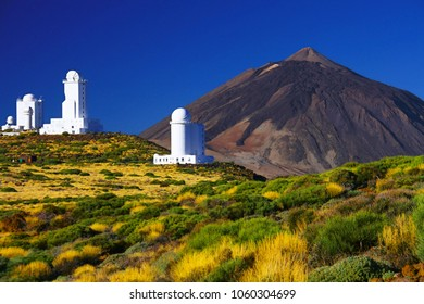 Teide Observatory - scientific astronomical telescope with Teide mountain in background, Tenerife island, Spain