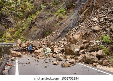 TEJEDA - ARTENARA, GRAN CANARIA, SPAIN. FEB. 4, 2017. A rock fall destroyed the GC-210 road during landslide after heavy rain on the island Gran Canaria, Spain.