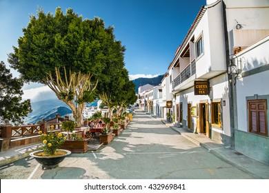TEJEDA, GRAN CANARIA, SPAIN-MAY 17, 2016: Main street in Tejeda village on May 17, 2016. at Gran Canaria, Spain.