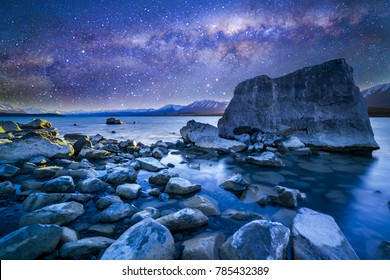 Tekapo lake with milkyway background