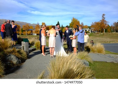 TEKAPO, NEW ZEALAND, MAY 10, 2014: A beautiful wedding at the famous Church of the Good Shepherd near Lake Tekapo.