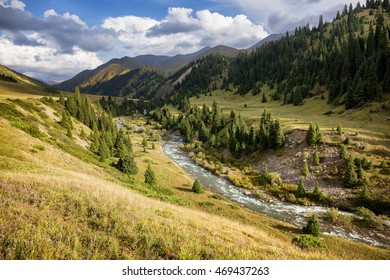 Tekes  river valley in Terskey Ala-Too mountain range,  Tian Shan mountains, Kazakhstan, Central Asia