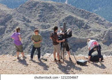 TEKIROVA, TURKEY - OCTOBER 07, 2009: Film Crew shooting footage on the Tahtali Mountain in Tekirova,Turkey.