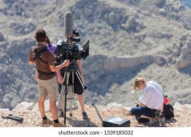 TEKIROVA, TURKEY - OCTOBER 07, 2009: Film Crew shooting documentary footage on the Tahtali Mountain in Tekirova,Turkey.