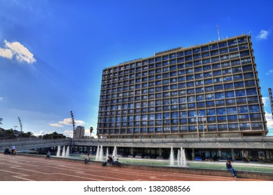 TEL AVIV, APR 23: The famous Rabin Square and a part of the famous Ibn Gabirol Street street near the municipality building in HDR image on blue sky. Tel Aviv, Israel, April 23, 2019