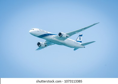 Tel aviv april 2018 el al dreamline 787 israeli Airline in aerial demonstration in Independence Day